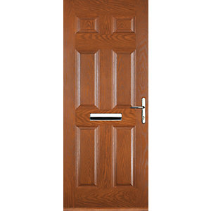 Euramax 6 Panel Oak Left Hand Composite Door