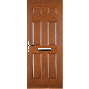Euramax 6 Panel Oak Right Hand Composite Door