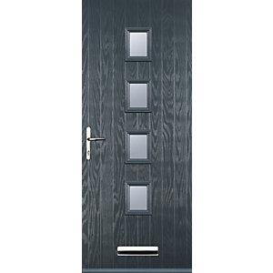 Euramax 4 Square Grey Right Hand Composite Door