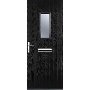 Image of Euramax 1 Square Black Right Hand Composite Door 840mm x 2100mm