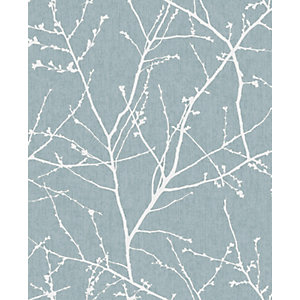 Image of Superfresco Easy Innocence Duck Egg Blue Fabric Effect Wallpaper - 10m