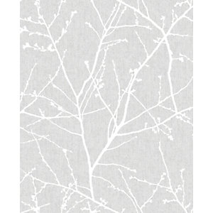 Image of Superfresco Easy Innocence Grey Fabric Effect Wallpaper - 10m