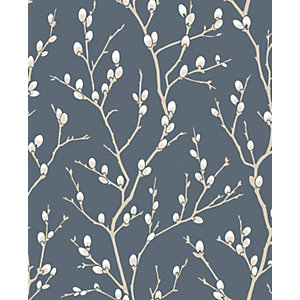 Superfresco Easy Karma Midnight Blue Suede Textured Wallpaper - 10m