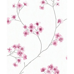Superfresco Easy Radiance Pink and White Decorative Wallpaper - 10m