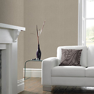 Superfresco Easy Textile Beige Linen Textured Wallpaper - 10m