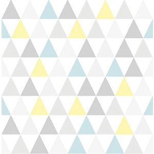 Superfresco Easy Tarek Geometric Design Yellow and Blue Wallpaper - 10m