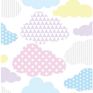 Superfresco Easy Multicolour Pastel Marshmallow Clouds Wallpaper - 10m