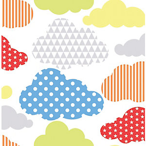 Image of Graham & Brown Multicolour Bright Marshmallow Clouds Decorative Wallpaper - 10m