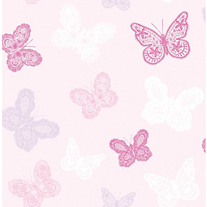 Superfresco Easy Pink Butterfly Print Wallpaper - 10m
