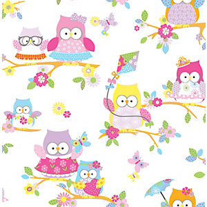 Image of Graham & Brown Multicolour Olive The Owl Decorative Wallpaper - 10m