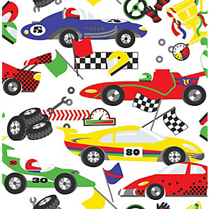 Image of Graham & Brown Racing Cars Pit Stop Multicolour Decorative Wallpaper - 10m