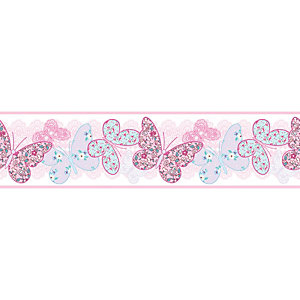 Image of Graham & Brown Pink Butterfly Print Border - 5m