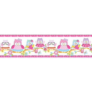 Image of Graham & Brown Olive The Owl Pink Decorative Border - 5m