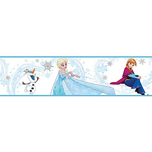 Frozen Ice Blue Anna & Elsa Multicoloured Decorative Border - 5m