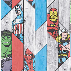 Image of Marvel Superheroes Wood Panel Effect Multicoloured Decorative Wallpaper - 10m