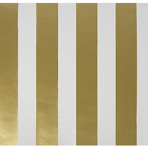Image of Graham & Brown Gold/White Stripe Decorative Wallpaper - 10m