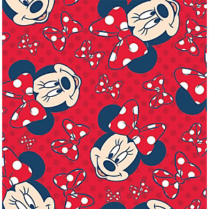 Disney Minnie Red Bow Red Decorative Wallpaper - 10m