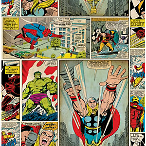 Image of Marvel Superheroes Comic Strip Multicoloured Decorative Wallpaper - 10m