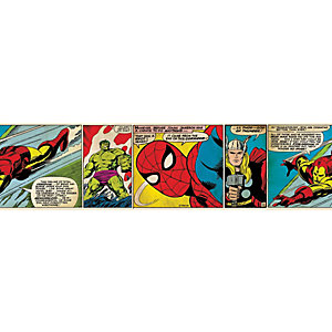 Image of Graham & Brown Marvel Superheroes Comic Strip Multicoloured Decorative Border - 5m