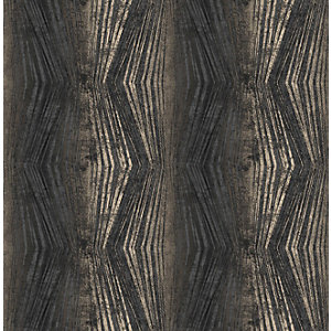 Boutique Vermeil Stripe Charcoal Decorative Wallpaper - 10m