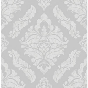 Boutique Damaris Silver Decorative Wallpaper - 10m