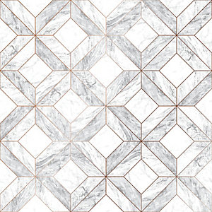 Image of Contour Marble Marquetry Grey Decorative Wallpaper - 10m