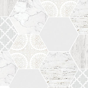 Contour Hexagonal Marble Grey Decorative Wallpaper - 10m