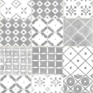 Image of Contour Porches Grey Decorative Wallpaper - 10m