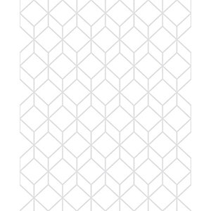 Superfresco Easy Myrtle Geo White/Silver Decorative Wallpaper - 10m