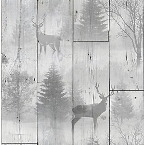 Superfresco Easy Highland Plank Grey Decorative Wallpaper - 10m