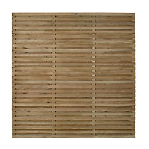 Image of Forest 6 x 6ft Contemporary Double Slatted Fence Panel - Pack of 3