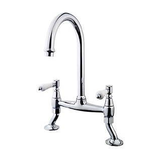 Image of Wickes Zores Kitchen Sink Bridge Mixer Tap - Chrome
