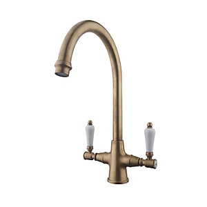 Image of Wickes Zores Monobloc Kitchen Sink Mixer Tap - Antique Brass Brushed