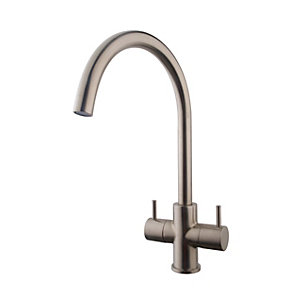 Image of Wickes Kumai Monobloc Kitchen Sink Mixer Tap - Brushed Chrome