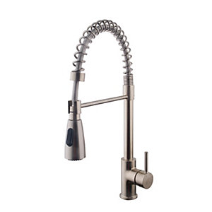 Image of Wickes Professional Monobloc Loose Coil Pull Out Kitchen Sink Mixer Tap - Brushed Nickel