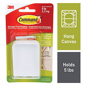 Command Jumbo Canvas Picture Hanger - White
