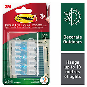 Command Outdoor Light Clips - Clear Pack of 16