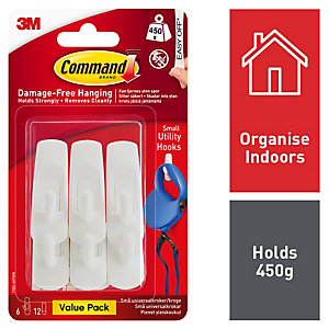 Command Small Utility Hook - White Pack of 6