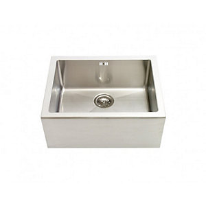 Contemporary 1 Bowl Belfast Kitchen Sink - Brushed Stainless Steel