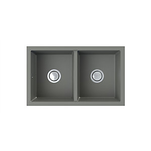 Onyx Undermount 2 Bowl Composite Kitchen Sink - Grey