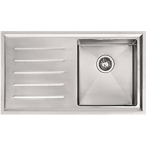 Image of Franke Winsford 1 Bowl Left Hand Drainer Kitchen Sink - Stainless Steel