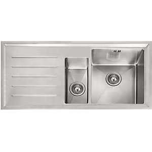 Image of Franke Winsford 1.5 Bowl Left Hand Drainer Kitchen Sink - Stainless Steel