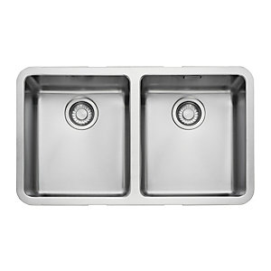 Image of Franke Kubus 2 Bowl Undermount Kitchen Sink - Stainless Steel