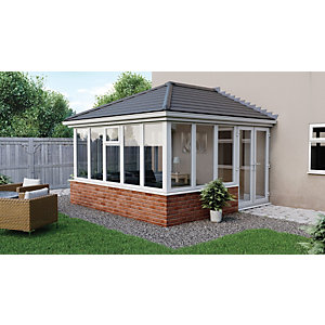 Image of Euramax Edwardian E10 Solid Roof Dwarf Wall Conservatory - 13 x 17 ft