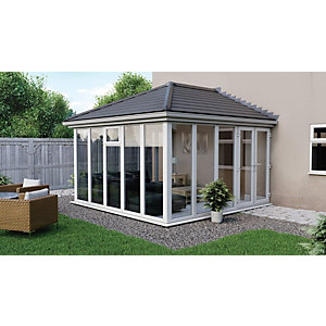 Euramax Edwardian E5 Solid Roof Full Glass Conservatory 10 X 10 Ft
