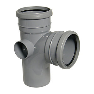 FloPlast SP190G Soil Pipe 92.5 Deg Branch Double Socket - Grey 110mm