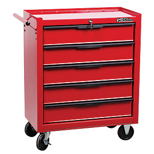 Hilka Heavy Duty 5 Drawer Tool Trolley - Red