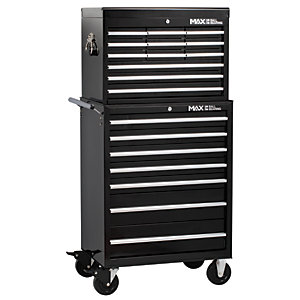 Hilka Professional 19 Drawer Tool Chest and Trolley Combination Unit - Black