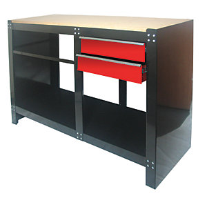 Image of Hilka Heavy Duty 2 Drawer Work Bench - Black 1.3m