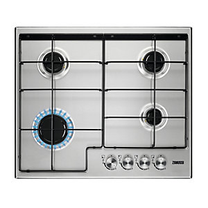 Image of Zanussi 60cm 4 Burner Gas Hob with Enamel Pan Supports Stainless Steel ZGH65414XX